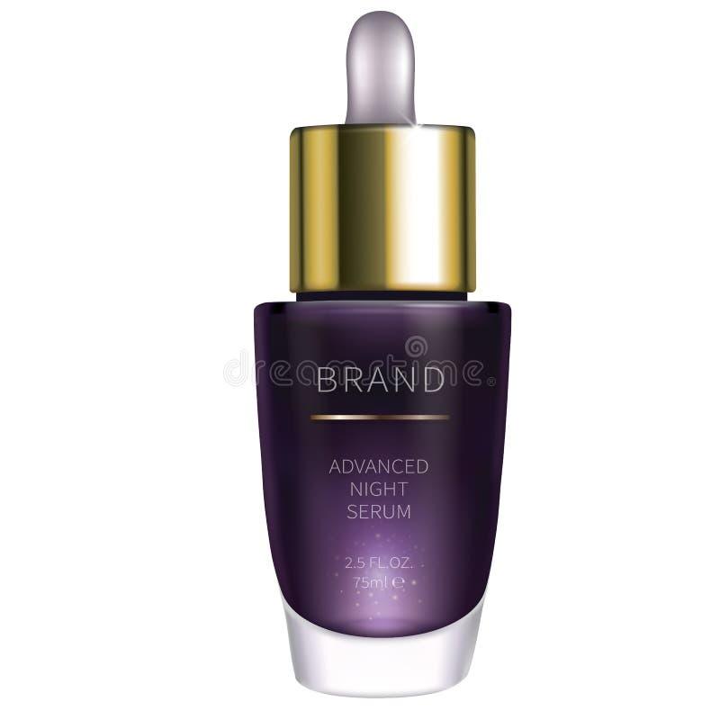 Sérum cosmétique de nuit pour des soins de la peau de visage illustration libre de droits