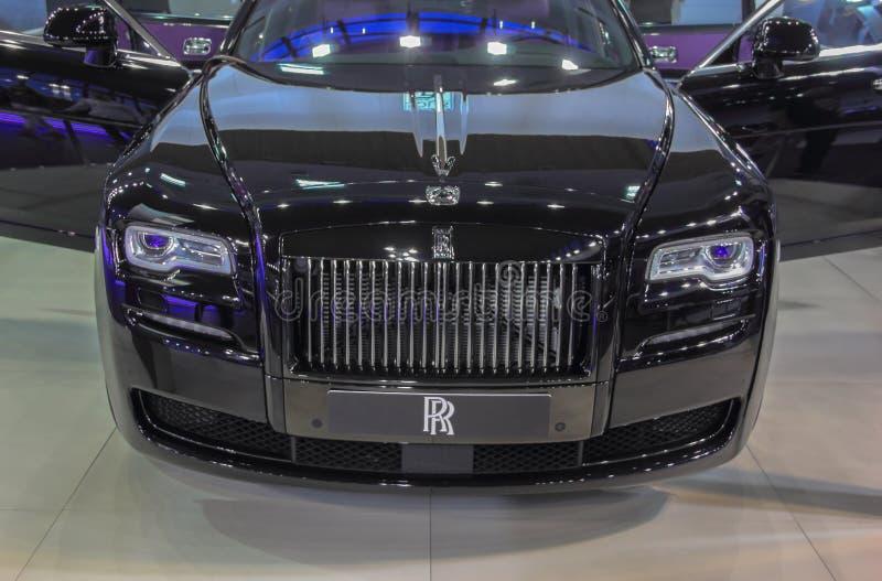 Sérvia; Belgrado; 2 de abril de 2017; Parte dianteira de Rolls Royce; o 53rd Int imagens de stock