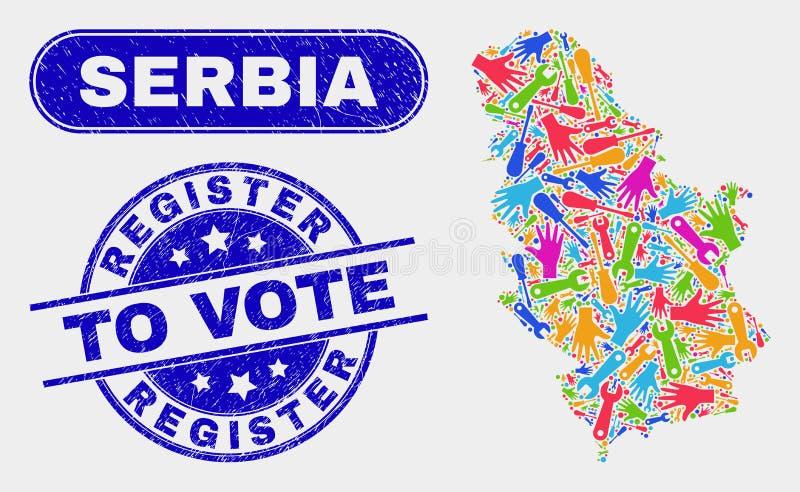 A Sérvia da produtividade traçam e o registro do Grunge para votar selos ilustração stock