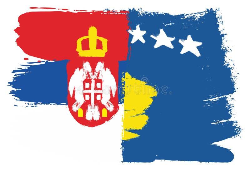 A Sérvia vetor embandeira & da bandeira de Kosovo pintado à mão com escova arredondada ilustração stock