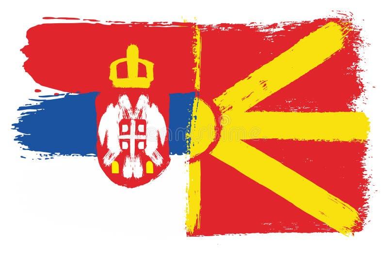 A Sérvia vetor embandeira & da bandeira de Macedônia pintado à mão com escova arredondada ilustração royalty free