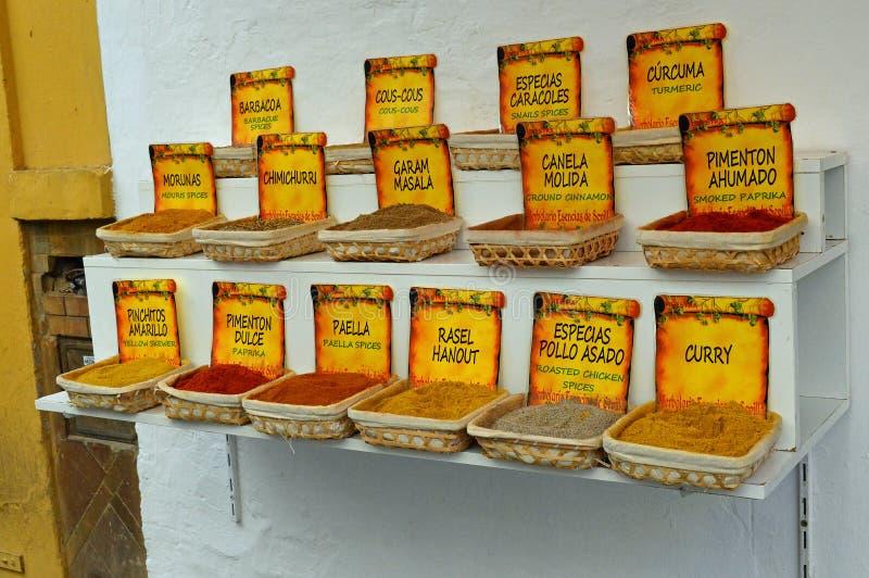 Séville - épices exotiques à vendre image libre de droits