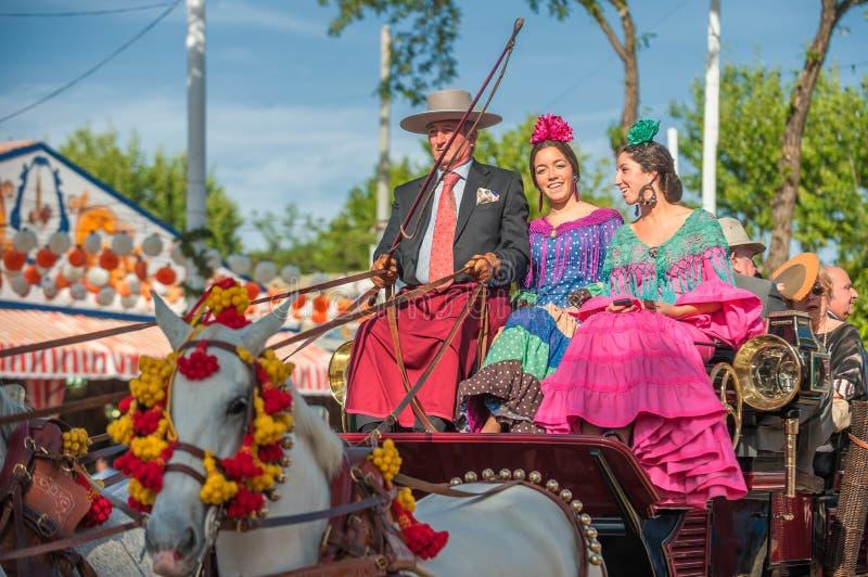 Défilé des chariots chez avril de la Séville juste photographie stock libre de droits