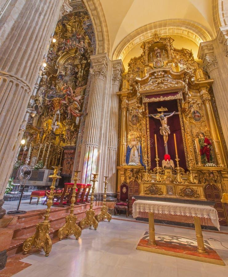 Séville - l'autel latéral d'El Cristo del Amor par Juan de Mesa (1620) dans l'église baroque du Salvador (del Salvador d'Iglesia) image libre de droits