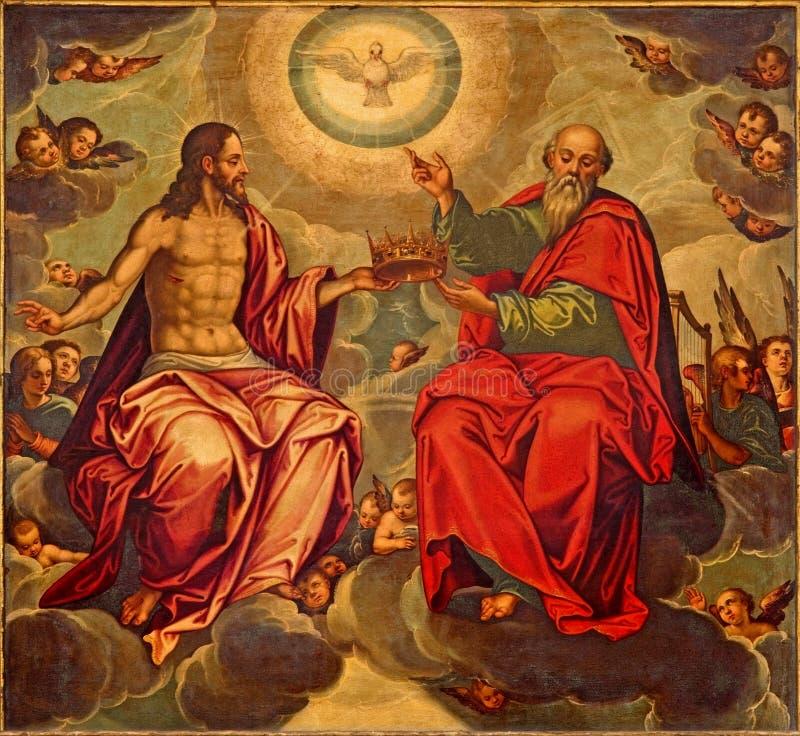 Séville - la peinture de trinité sainte dans l'église Iglesia de la Anunciacion par Marcelo Coffermans (1560) photo stock