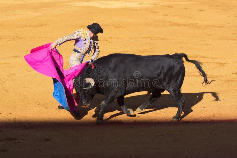 Séville - 16 mai : Le toréador espagnol effectue une corrida au Th photographie stock libre de droits