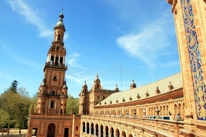 Séville, palais carré de Plaza de Espana. l'Espagne photos libres de droits