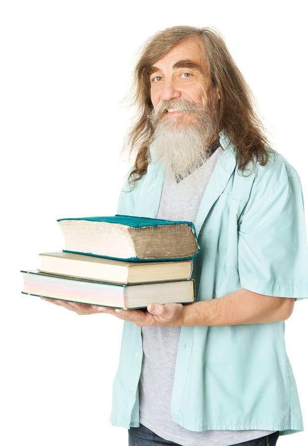 Sênior com livros Educação do ancião, pessoa idosa com barba fotografia de stock
