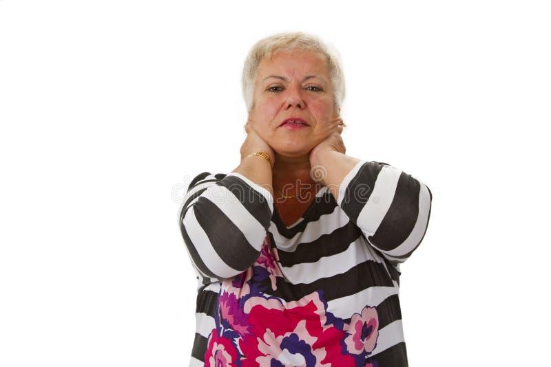 Sênior fêmea com neckache fotos de stock