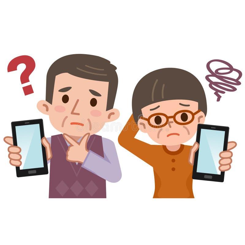 Sênior a preocupar-se e smartphone ilustração do vetor