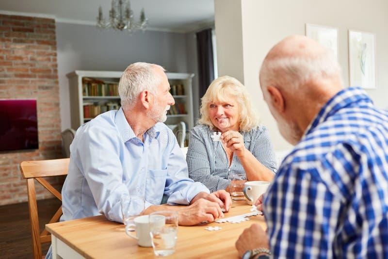 Sêniores como os pensionista que jogam o enigma fotos de stock royalty free