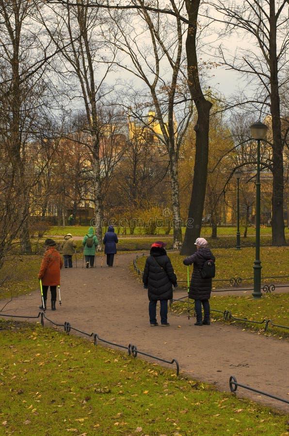 Sêniores contratados no passeio nórdico no parque no outono atrasado imagem de stock
