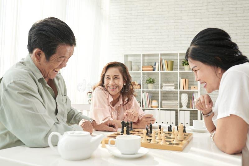 Sêniores que jogam a xadrez imagens de stock