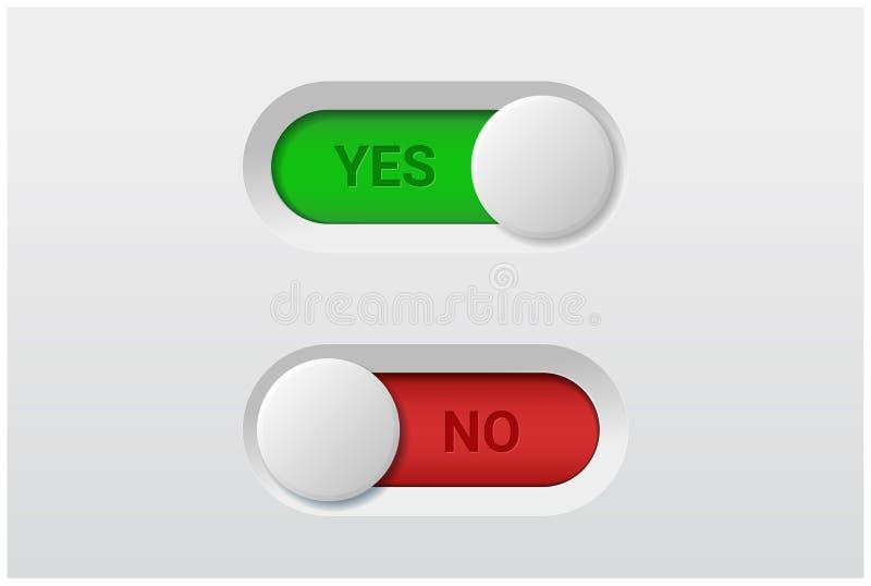 Sì e nessun bottoni dell'interruttore basculante su fondo bianco royalty illustrazione gratis