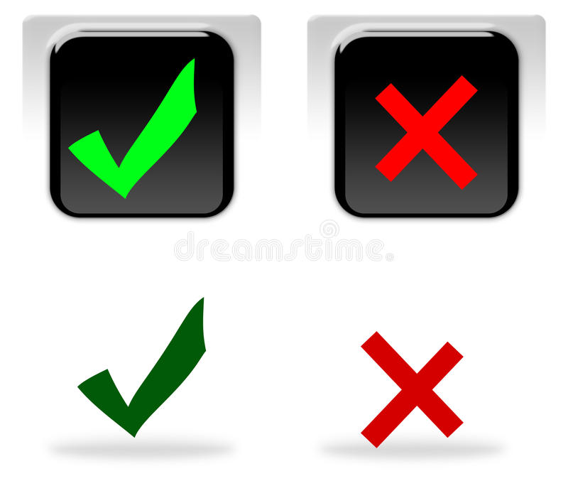 Sì e nessun icone illustrazione vettoriale