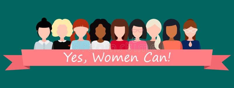 Sì, le donne possono! Simbolo di potere femminile, diritti della donna, protesta, femminismo Vettore illustrazione vettoriale