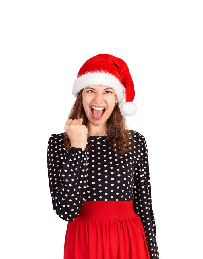 Sì lo abbiamo fatto ritratto della donna in vestito che celebra vittoria, stupito con la vittoria ragazza emozionale in isola del fotografia stock