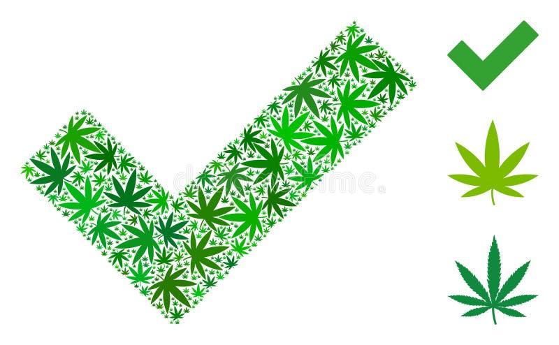 Sì mosaico delle foglie dell'erbaccia illustrazione vettoriale