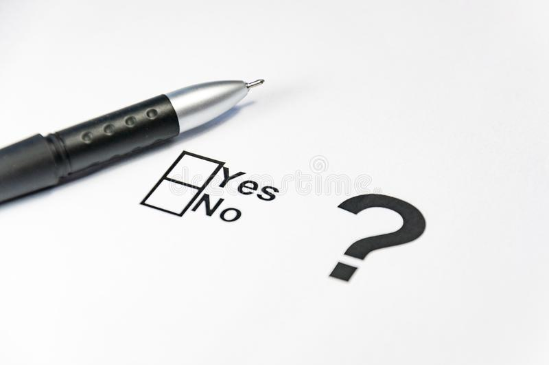Sì nessun si astiene la bandiera della casella di controllo Elezioni, referendum, people& x27; scelta di s fotografia stock libera da diritti