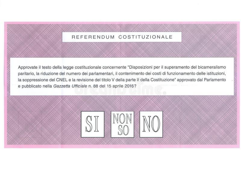 SÌ NESSUN ` T di I DON CONOSCE la scheda elettorale italiana immagini stock