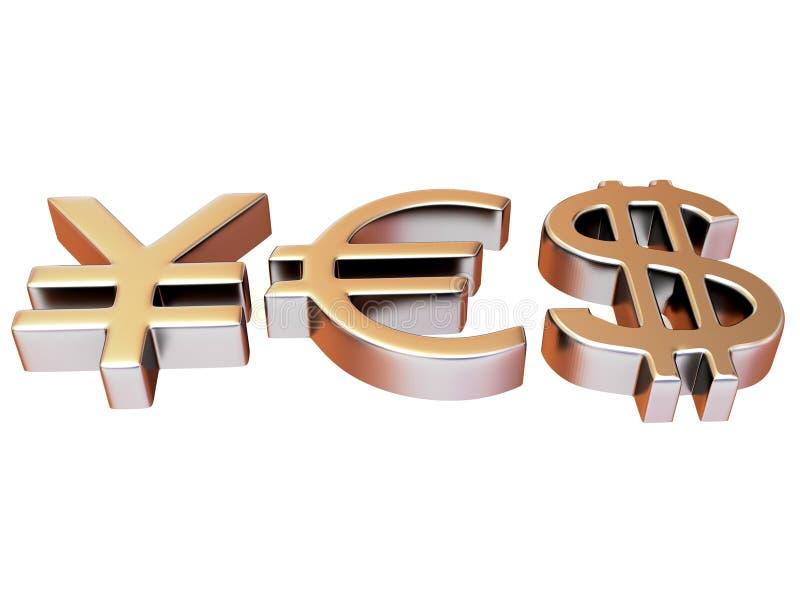 SÍ de las muestras Yenes, dólar y euro ilustración del vector