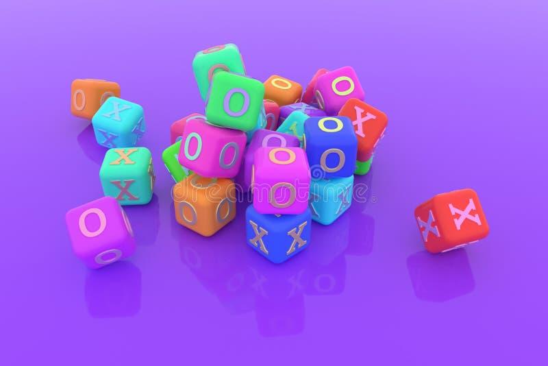 Sí o no, derecho o incorrecto, X u O, cubo o bloque para la textura del diseño, fondo 3d rinden stock de ilustración