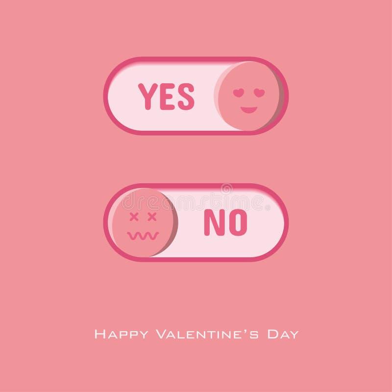 Sí y ningún botón a elegir para el día de tarjeta del día de San Valentín ilustración del vector