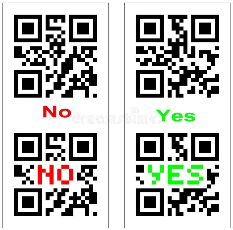 Sí y ningún código de barras de QR libre illustration