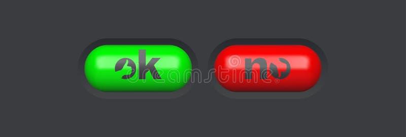 Sí y ningún icono Elementos brillantes del Web Botones ovales coloreados para su diseño iconos de cristal del menú 3d Ilustraci stock de ilustración