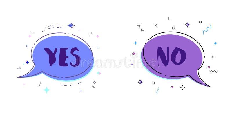 Sí y ningunas letras Ilustración del vector ilustración del vector