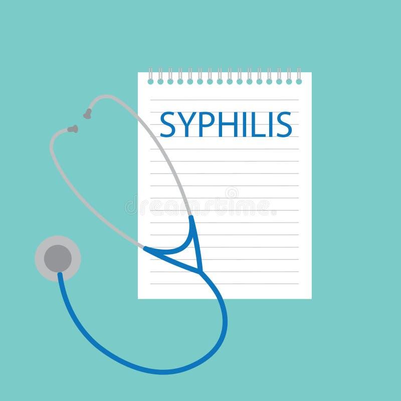 Sífilis escrita no caderno ilustração do vetor