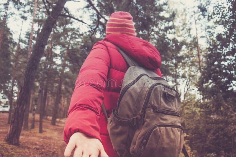 Sígame concepto del recorrido Opinión trasera la mujer joven con la mochila al aire libre en el bosque fotografía de archivo libre de regalías