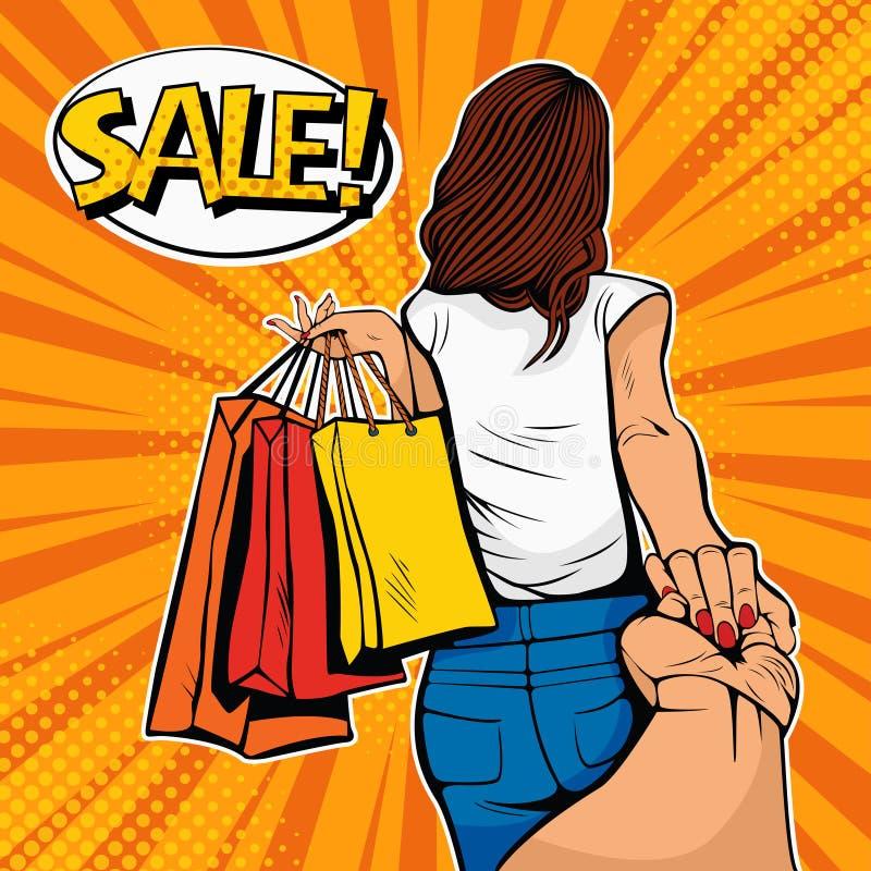 Sígame concepto La mujer joven lleva a un hombre en compras Descuentos y ventas Ejemplo del arte pop ilustración del vector