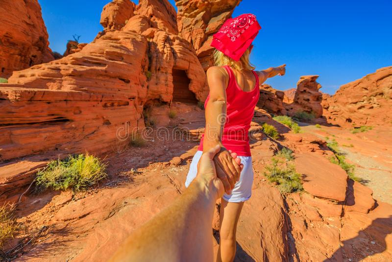 Sígame en el desierto de Nevada fotos de archivo libres de regalías