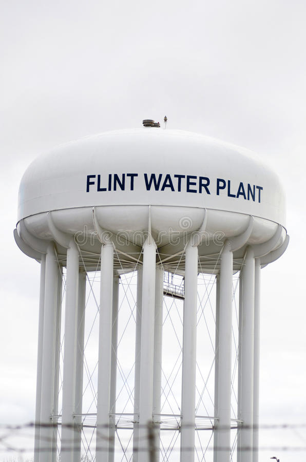 Sílex, Michigan: Flint Water Plant Tower foto de stock