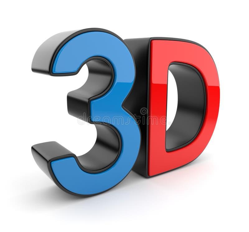 símbolo 3D do cinema estereoscopicamente. Ícone ilustração stock