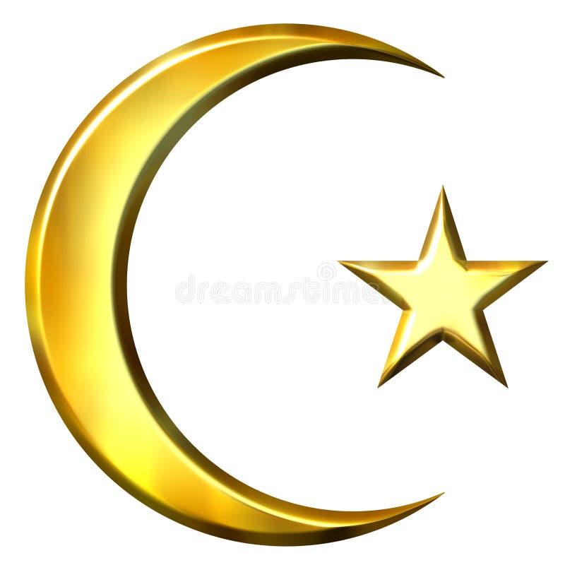 símbolo 3D islâmico dourado ilustração do vetor