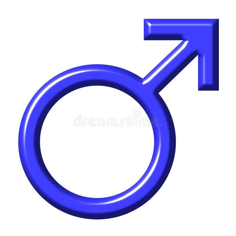 símbolo 3D masculino azul ilustração royalty free