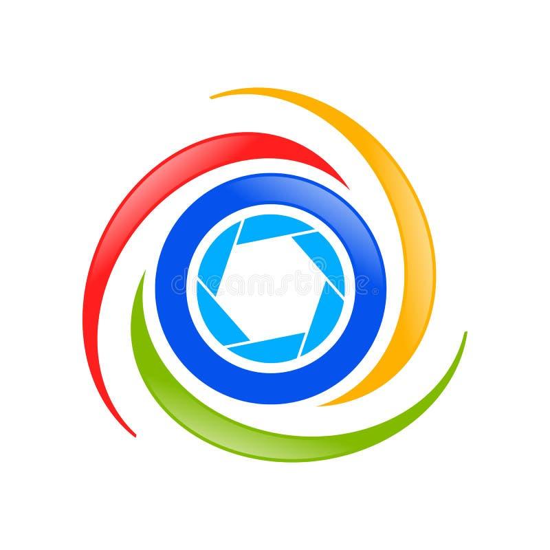 Símbolo aéreo Logo Design da fotografia do zangão ilustração stock