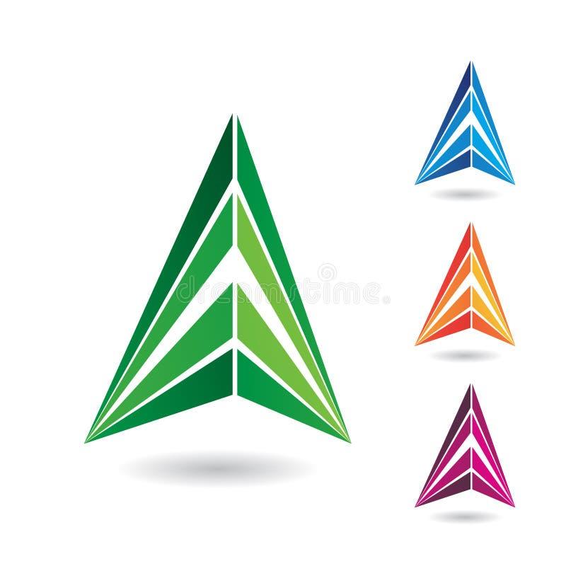 Símbolo abstracto colorido del triángulo de la letra A stock de ilustración