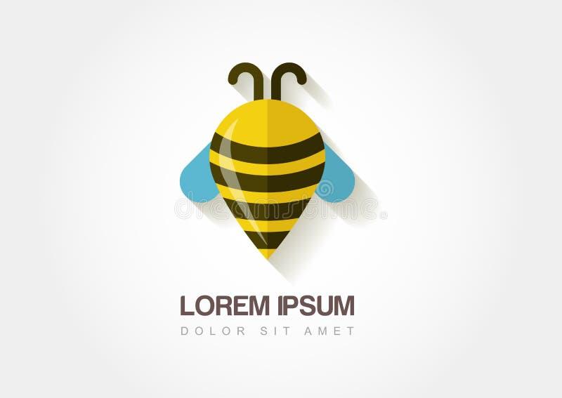 Símbolo abstracto de la abeja Punto de referencia estilizado Templat del icono del logotipo del vector stock de ilustración