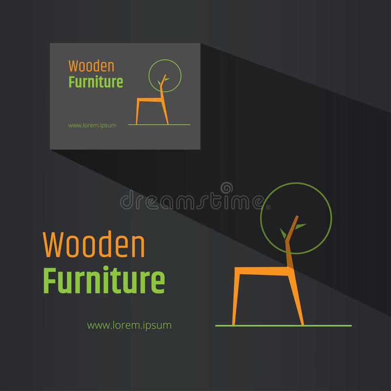 Símbolo abstracto de la silla - diseño de madera creativo del logotipo de los muebles Diseño de la tarjeta de visita incluido Con stock de ilustración
