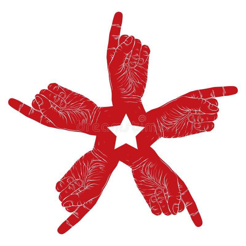 Símbolo abstracto punteagudo de cinco manos con la estrella pentagonal, negra ilustración del vector
