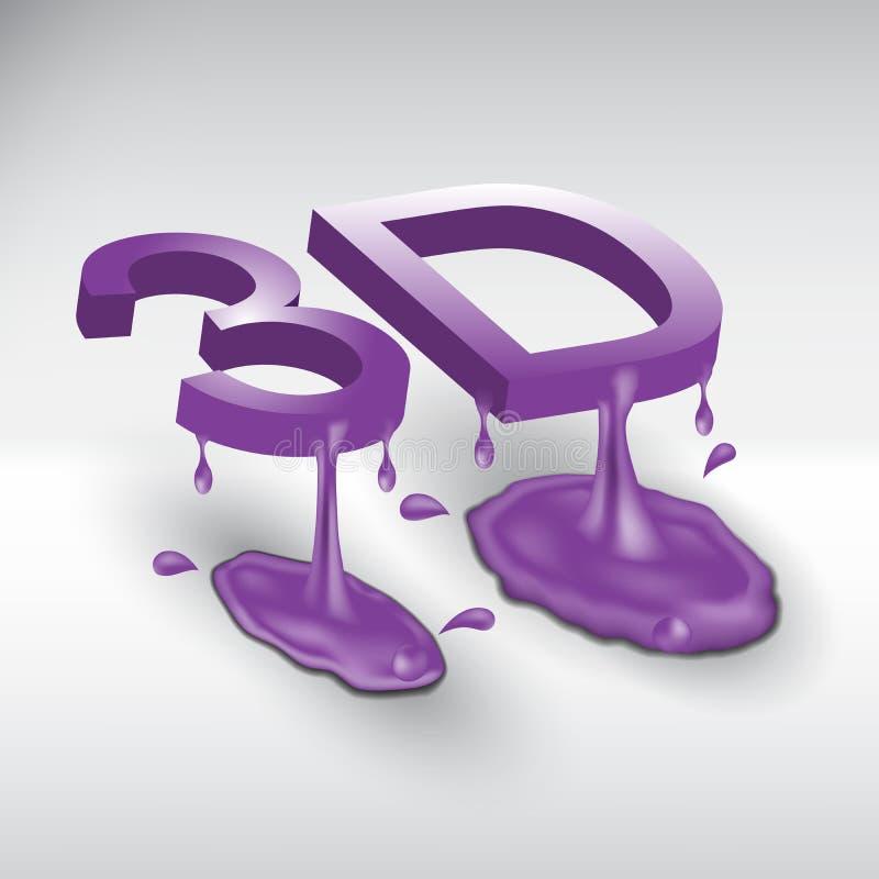 Símbolo abstrato 3d do logotipo que consiste no líquido ilustração do vetor