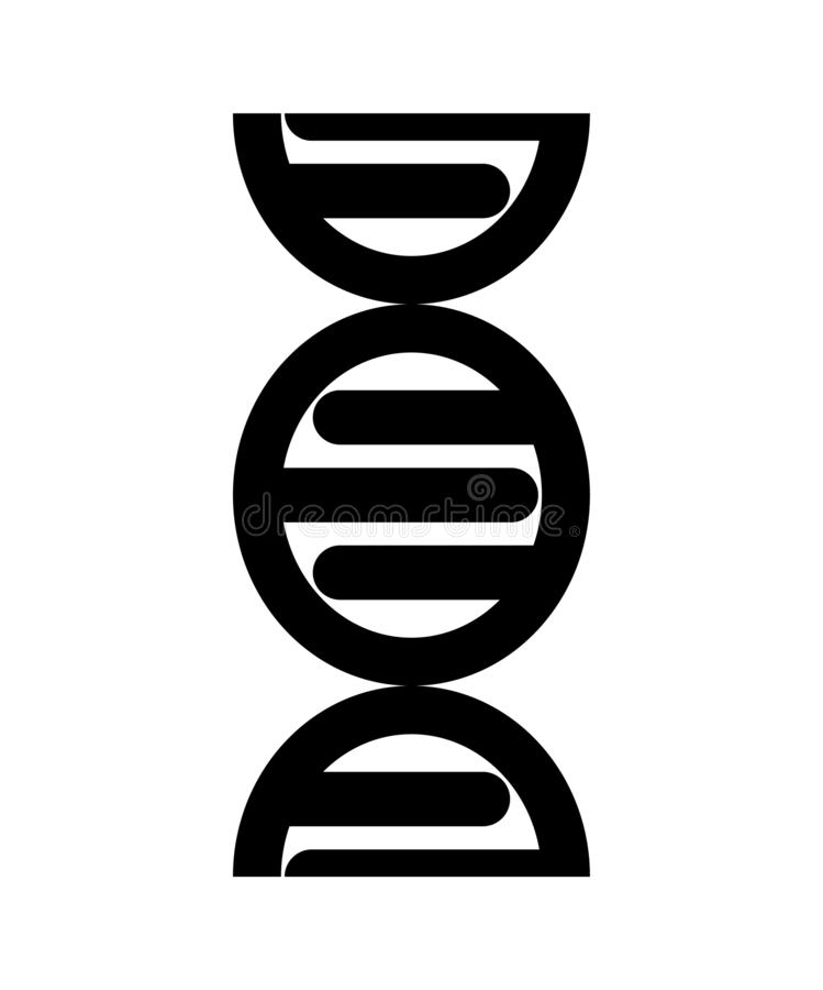 Símbolo abstrato da costa do ADN Isolado no fundo branco Ilustração do conceito do vetor ilustração do vetor