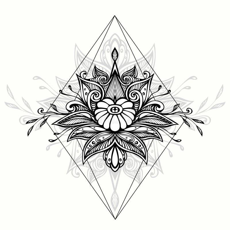Símbolo abstrato da garatuja do zen do emaranhado do zen no estilo de Boho para o preto da tatuagem no branco ilustração do vetor
