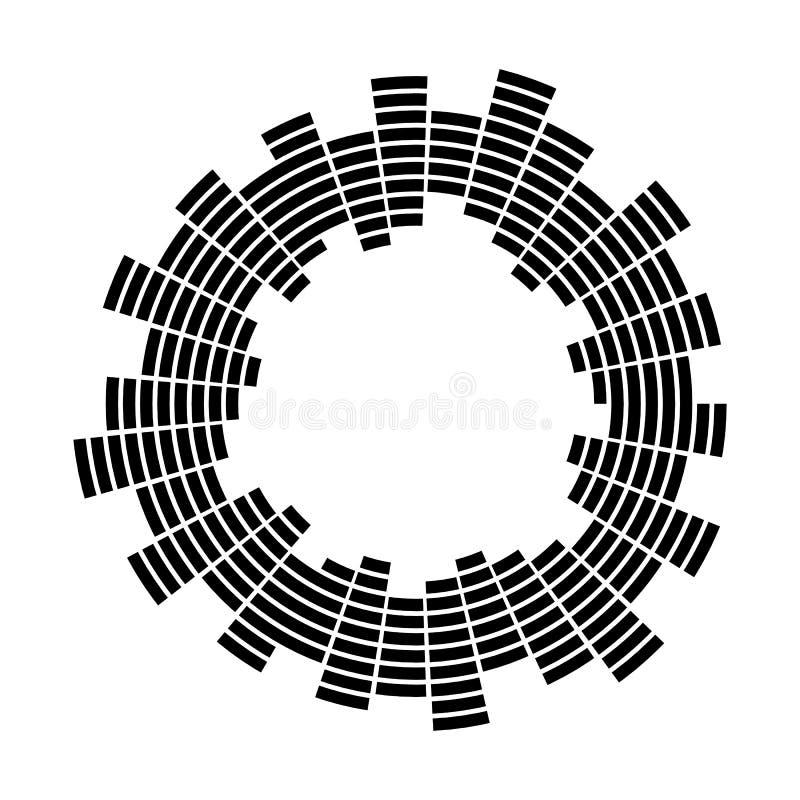 Símbolo abstrato do ícone do vetor do círculo da onda sadia da música do equalizador projeto do logotipo, linha redonda ícone, ar ilustração stock