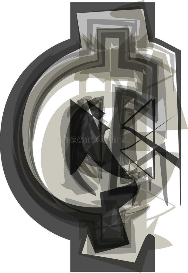 Símbolo abstrato do centavo ilustração stock