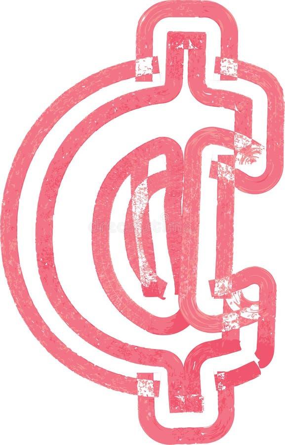 Símbolo abstrato do centavo feito com marcador vermelho ilustração stock