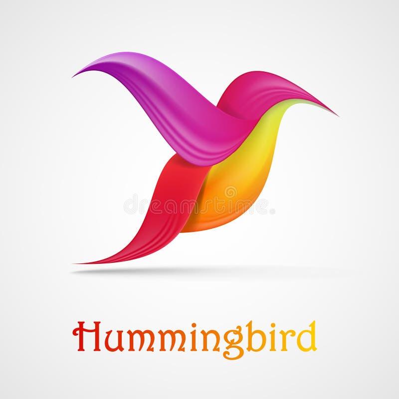 Símbolo abstrato do colibri Ilustração isolada no fundo ilustração royalty free